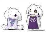 anthro asriel_dreemurr blue-crow caprine chibi clothed clothing cute duo female fur goat looking_at_viewer male mammal monster necklace open_mouth purple_eyes simple_background teeth tongue toriel undertale video_games white_background white_fur yellow_eyes  Rating: Safe Score: 15 User: Burgerpants Date: November 15, 2015