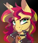 2015 blonde_hair clothing collar dennybutt equestria_girls equine female feral green_eyes hair horn jacket leather_jacket looking_at_viewer mammal multicolored_hair my_little_pony portrait red_hair solo sunset_shimmer_(eg) two_tone_hair unicorn  Rating: Safe Score: 15 User: 2DUK Date: June 08, 2015""