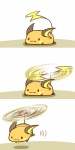 :3 beady_eyes cute female flying fur helicopter_motion lying mammal nintendo on_front orange_fur pokémon raichu rairai-no26-chu rodent shadow simple_background smile solo stripes video_games what white_background
