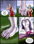 2003 anthro breasts clothed clothing comic dialogue dragon duo english_text feet female foot_fetish foot_focus hair horn human long_hair male mammal markie open_mouth pink_scales purple_hair purple_scales scalie size_difference smile speech_bubble stomping teeth text white_eyes   Rating: Questionable  Score: -2  User: GameManiac  Date: April 12, 2015