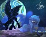 2015 blue_eyes blue_hair bluse chain cutie_mark duo earth equine eyeshadow female friendship_is_magic hair helmet horn makeup mammal moon my_little_pony nightmare_moon_(mlp) outside planet princess_luna_(mlp) rock shackles sitting slit_pupils sparkles star upset winged_unicorn wings young   Rating: Safe  Score: 6  User: 2DUK  Date: January 12, 2015