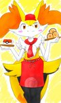 accessory ambiguous_gender apron big_ears biped braixen chest_tuft closed_smile clothing cup cute_expression digitigrade dugtrio eiroru fingers fluffy fluffy_tail food front_view fur hair_accessory hat headgear headwear hi_res hip_tuft inner_ear_fluff long_tail looking_at_viewer multicolored_body multicolored_fur multicolored_tail necktie nintendo pokemon_cafe_mix pokéball pokémon pokémon_(species) portrait red_eyes sandwich_(food) semi-anthro shoulder_tuft simple_background smile traditional_media_(artwork) tuft video_games white_body white_fur