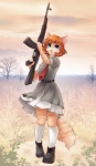belt blue_eyes cat clothing feline gun invalid_tag iskra mammal outside ranged_weapon rifle shoes skirt socks tree weapon   Rating: Safe  Score: 8  User: Lunaz  Date: March 10, 2014