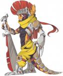 """anthro anthrofied armor beelzemon_(artist) clothed clothing digital_media_(artwork) fan_character gaël_the_scrafty half-dressed helmet long_tail melee_weapon mohawk nintendo pokémon purple_eyes scrafty shaded side_view solo stripes sword teeth toned topless unconvincing_armor video_games weapon  Rating: Safe Score: 5 User: Circeus Date: June 11, 2015"""""""