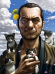 2011 cat cloud dandelion facial_hair feline feral flower flower_in_hair hair_ornament looking_at_viewer male old_man original petals realistic solo stubble taku   Rating: Safe  Score: 19  User: AnacondaRifle  Date: February 12, 2012