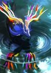 2014 ambiguous_gender annoying_watermark antlers blue_eyes cervine deer feral haychel hi_res horn legendary_pokémon mammal nintendo pokémon solo video_games water watermark wet xerneas   Rating: Safe  Score: 6  User: Mienshao  Date: November 13, 2014