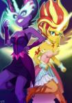2015 animal_humanoid blonde_hair blue_eyes cleavage clothed clothing collar daydream_shimmer_(eg) dress duo equestria_girls equine eyeshadow fangs female gloves hair horn humanoid makeup mammal mask midnight_sparkle_(eg) my_little_pony purple_eyes red_hair semi-anthro sunset_shimmer_(eg) twilight_sparkle_(eg) uotapo winged_unicorn wings  Rating: Safe Score: 13 User: 2DUK Date: October 04, 2015