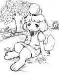 animal_crossing female isabelle_(animal_crossing) looking_at_viewer monochrome nintendo video_games   Rating: Safe  Score: 4  User: Ko-san  Date: April 19, 2014