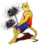 anthro big_muscles blue_eyes clothing feline flower fur male mammal morenatsu muscular muscular_male plant simple_background smile solo tiger torahiko_(morenatsu) unknown_artist  Rating: Safe Score: 0 User: Kod Date: June 25, 2015