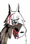 2017 black_nose black_sclera blood blue_eyes bust_portrait canine fangs feral frown fur jinksa looking_at_viewer mammal mask notched_ear portrait samurai_jack shadow simple_background snout solo teeth white_background white_fur wolf woundedRating: QuestionableScore: 1User: ArgovrilDate: April 28, 2017