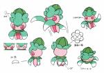 absurd_res arthropod biped flora_fauna fomantis green_body hi_res humanoid insect model_sheet multicolored_body nintendo official_art pink_body plant pokémon pokémon_(species) red_sclera simple_background solo text video_games white_background