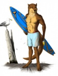 2009 abs anthro avian bird brown_fur clothing eyebrows feathers feral fur green_eyes holding_object jewelry looking_aside mammal multicolored_fur muscular mustelid necklace otter seagull shorts simple_background standing swimming_trunks swimsuit tan_fur truegrave9 underwear whiskers white_backgroundRating: SafeScore: 1User: DeservantHurricaneDate: June 22, 2017