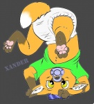 anthro blue_hair canine cub diaper fox green_shirt hair infantilism looking_at_viewer male mammal pacifier upside_down yellow_eyes yiffy_foxy young  Rating: Questionable Score: 3 User: Yiffy_Foxy Date: November 15, 2012
