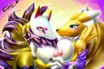 absurd_res anthro areola blush breasts canine claws close-up clothing crossover digimon duo female female/female fox fur gloves hand_holding hi_res kyuubi_(youkai_watch) looking_at_viewer mammal nipples nude open_mouth renamon sharp_claws sharp_teeth smile tailzkim teeth tongue white_fur yellow_fur youkai_watch   Rating: Explicit  Score: 16  User: Locus  Date: May 10, 2015