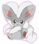 ambiguous_gender big_ears blush chinchilla cinccino cute featureless_crotch fluffy fur grey_eyes hair hair_tuft inner_ear_fluff long_hair long_tail looking_at_viewer mammal nintendo open_mouth pawpads paws pokémon rodent simple_background sitting solo video_games white_background yata-nepia