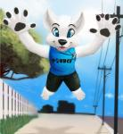 2014 anthro black_nose blue_eyes canine city colored cute dog fur grass jamesfoxbr looking_at_viewer male mammal mblade open_mouth outside paws pounce smile solo teeth tongue tree white_fur   Rating: Safe  Score: 7  User: jamesfoxbr  Date: March 25, 2014