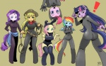 2013 anthro anthrofied applejack_(mlp) blonde_hair blue_body blue_eyes blue_hair bodysuit book breasts clothed clothing cowboy_hat earth_pony equine fake_ears fake_rabbit_ears female fluttershy_(mlp) friendship_is_magic green_eyes group hair hat horn horse legwear long_hair looking_at_viewer mammal multicolored_hair my_little_pony open_mouth orange_body pegasus pink_body pink_hair pinkie_pie_(mlp) pony purple_body purple_eyes purple_hair rainbow_dash_(mlp) rainbow_hair rarity_(mlp) shepherd0821 shirt short_hair shorts signature skinsuit smile spread_wings spy stockings twilight_sparkle_(mlp) unicorn wallpaper white_body wings yellow_body  Rating: Safe Score: 11 User: darknessRising Date: July 23, 2013