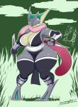 2017 absurd_res alternate_color amphibian anthro anthrofied armor armwear big_breasts breasts charizard cleavage clothed clothing countershading dagger detached_sleeves digitigrade eyelashes female front_view full-length_portrait fullmetalmentalist greaves greninja grey_skin hi_res legwear long_tongue looking_at_viewer melee_weapon nintendo non-mammal_breasts pokémon pokémon_(species) pokémorph portrait pseudo_clothing reptile scalie simple_background skimpy slightly_chubby solo solo_focus tan_skin thick_thighs thigh_highs tight_clothing tongue tongue_out vambraces video_games weapon wide_hipsRating: SafeScore: 25User: dragondongersDate: October 14, 2017