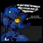 2013 anthro anthrofied bdsm big_breasts blue_eyes blue_fur bondage bound breasts crown cutie_mark dialogue duo english_text equine female friendship_is_magic fur hair hands_behind_back horn jack_o'_lantern kneeling looking_down mammal my_little_pony nipples nude open_mouth princess princess_luna_(mlp) pumpkin royalty text tiara tongue winged_unicorn wings yawg  Rating: Questionable Score: 17 User: Ample_Bovine Date: November 27, 2013