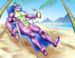abs anthro anthrofied beach chair cup day dragon eyewear flaccid friendship_is_magic male muscular muscular_male my_little_pony nude outside palm_tree pecs penis pia-sama purple_scales relaxing scales seaside sharp_teeth sitting solo spike_(mlp) straw sunglasses teeth tree water