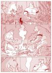 bear belt campfire canine clothed clothing comic duo eating fireplace food forest furronika hi_res loincloth male mammal monochrome nipples nude outside penis red_and_white shirt sitting spiked_armlet standing topless tree underwear undressing  Rating: Explicit Score: 10 User: Munkelzahn Date: February 22, 2016