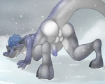 """all_fours anus ass_up backsack balls ben300 black_sclera blue_hair blush butt dragon feral green_eyes hair happy horn looking_back male nude outside penis perineum playful precum presenting presenting_hindquarters raised_tail reptile scalie smile snow snowing solo  Rating: Explicit Score: 34 User: Kibiyami Date: June 23, 2014"""""""