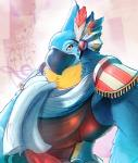 abstract_background ahruon avian beak breath_of_the_wild feathers kass_(zelda) musical_note nintendo scarf solo the_legend_of_zelda video_games yellow_eyesRating: SafeScore: 1User: Alm-PeDate: May 23, 2017