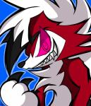absurd_res ambiguous_gender blue_background canine chico claws fur hi_res lycanroc mammal midnight_lycanroc nintendo pokémon pokémon_(species) red_eyes red_fur sharp_teeth simple_background solo teeth video_games white_fur