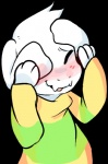 alpha_channel anthro asriel_dreemurr blush boss_monster canine_teeth caprine child clothed clothing cub cute daww eyes_closed floppy_ears fur goat long_ears male mammal pkbunny shy simple_background solo sweater undertale video_games white_fur young