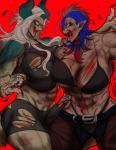 abs angry bachikin bandage belt big_breasts blood blood_on_breast blood_on_hand blood_on_leg blood_on_mouth blue_hair bra breast_squish breasts bruised claws clothed clothing crop_top demon duo female fight green_eyes hair horn humanoid long_hair muscular muscular_female open_mouth pants pointy_ears red_eyes shirt shorts smile spiral_eyes teeth thong torn_clothing torn_topwear underwear vein white_hair wings woundedRating: QuestionableScore: 2User: OpilioneDate: December 16, 2017