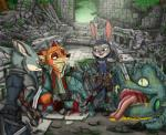2017 absurd_res anthro blood canine claws clothed clothing disney dragon fan_character female fox fur hi_res judy_hopps lagomorph male mammal melee_weapon monster_hunters nick_wilde rabbit scar simple_background sword weapon ziegelzeig zootopiaRating: QuestionableScore: 7User: Rysaerio-MisoeryDate: December 14, 2017