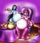 adventure_time areola belly big_belly black_hair blush breasts crown digital_media_(artwork) duo expansion female female/female food goo grey_skin hair hyper hyper_belly marceline mystwell navel nipples pink_hair pink_skin princess_bubblegum purple_eyes stuffing vampire weight_gain   Rating: Questionable  Score: -4  User: Emissaryofrainbows  Date: January 15, 2015