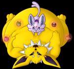 cupcake eeveelution espeon fattening food jolteon lying mothofamber nintendo on_back overweight pokémon pokémon_(species) size_difference video_gamesRating: SafeScore: 1User: MaleLeafeonDate: November 18, 2017