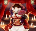 2018 anthro apron armello blush breasts candle clothed clothing digital_media_(artwork) female folding_fan front_view griotte_(armello) jewelry keppo_(artist) lacing makeup mammal murid murine necklace pearl_necklace pockets portrait rat rodent smile solo teeth three-quarter_portrait video_games