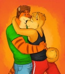 anthro canine couple cuddling dog duo eyes_closed feline fur genchi hug male male/male mammal shiba_inu tiger   Rating: Safe  Score: 9  User: Hardstyle_Chris  Date: April 25, 2013