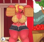 2015 anthro apple big_breasts big_macintosh_(mlp) blonde_hair breasts bulge cart cleavage clothed clothing crossgender dickgirl earth_pony equine friendship_is_magic fruit fully_clothed fur green_eyes hair hairband half-closed_eyes hay_bale horse huge_breasts intersex mammal my_little_pony nipple_bulge outside pony red_fur shaded smile solo somescrub thick_thighs tree  Rating: Questionable Score: 18 User: Jatix Date: September 26, 2015