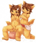 2015 anthro areola balls blush breasts brown_eyes brown_hair canine chest_tuft cub duo erection female fox fur hair kemono male male/female mammal nipples open_mouth orange_fur penis pussy simple_background sitting sweat towel tuft wahitouppe white_background young  Rating: Explicit Score: 12 User: Just_Another_Dragon Date: February 21, 2015