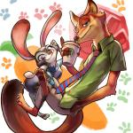 2016 abstract_background anthro canine claws clothing coffee_cup disney duo female fox judy_hopps lagomorph looking_at_viewer male mammal nick_wilde pawpads police_uniform rabbit size_difference smile toe_claws uniform zootopia +15_(artist)  Rating: Safe Score: 6 User: Vallizo Date: April 28, 2016