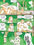 ? anthro badger breasts cat centaur comic detailed_background dialogue digital_media_(artwork) english_text equine equine_taur feline female feral forest group holding_object holding_weapon horse human humanoid machete mammal melee_weapon mustelid nature nipples nude outside peeing pussy reiger taur text tree urine water weapon wood