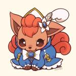 canine clothing cute dress fox huiro mammal nintendo pokémon simple_background solo tongue tongue_out video_games vulpix  Rating: Safe Score: 12 User: tengger Date: March 29, 2015