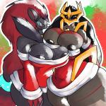 anthro anthrofied big_breasts breast_grab breast_squeeze breast_squish breasts breasts_frottage christmas duo female giratina hair hand_on_breast hi_res holidays huge_breasts huge_hips legendary_pokémon looking_at_viewer nintendo nipples nythe platinumeggs pokémon pokémon_(species) pokémorph video_games wide_hips zoroark