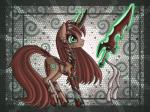 2013 armor brown_fur clothed clothing digital_media_(artwork) equine fan_character female fur green_eyes hair horn horse kitsu magic makeup mammal my_little_pony ponification pony raptor007 red_fur red_hair solo sword unconvincing_armor unicorn weapon   Rating: Safe  Score: -1  User: GameManiac  Date: March 19, 2015