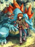 ambiguous_gender brown_hair claws clothed clothing day feral feraligatr grass group hair hi_res human leaf looking_at_viewer male mammal nintendo open_mouth outside plant pokéball pokédex pokémon red_eyes reptile sa-dui scalie silver_(pokémon) smile teeth tongue video_games weavileRating: SafeScore: 4User: MMOXDate: June 24, 2017