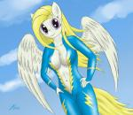 anthro blonde_hair breasts clothing cloudscape equine feathers female fur hair kasaler long_hair looking_at_viewer mammal my_little_pony navel outside pegasus purple_eyes sky smile solo surprise_(mlp) uniform white_fur wings   Rating: Questionable  Score: 1  User: OptimalPrime  Date: March 05, 2015