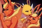 2016 anthro balls big_breasts breasts cum cum_on_face cumshot eeveelution erection faceless_male fellatio female flareon group human interspecies jolteon male mammal nintendo nude oral orange-peel orgasm penis pokémon poképhilia sex video_games  Rating: Explicit Score: 31 User: Robinebra Date: February 04, 2016