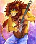 2018 5_fingers anthro brown_hair clothed clothing digital_media_(artwork) felid green_eyes guitar hair imanika les_paul lion male mammal musical_instrument pantherine simple_background solo toplessRating: SafeScore: 15User: MillcoreDate: August 14, 2018