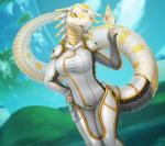 anthro clothing female furgonomics futuristic reptile scalie snake solo spacesuit tail_clothing thick_tail tongue tongue_out vader-san