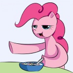 blue_eyes bowl cereal cereal_guy digital_media_(artwork) earth_pony equine female feral food friendship_is_magic fur hair half-closed_eyes horse kloudmutt mammal meme my_little_pony open_mouth pink_body pink_fur pink_hair pinkie_pie_(mlp) pointing pony solo spoon
