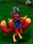 2012 anthro black_nose blue_dress breasts canine clothed clothing digitigrade female feral fox fur hair hat mammal molly_fullin multiple_tails outside red_fur red_hair rodent solo squirrel tiffany_ross tree  Rating: Safe Score: 1 User: Googlipod Date: November 28, 2015