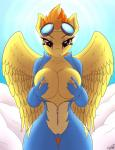 2014 anthro anthrofied big_breasts biting_lip breasts camel_toe clothing digital_media_(artwork) equine eyelashes eyewear female friendship_is_magic fur goggles hair hi_res jumpsuit looking_at_viewer mammal my_little_pony nipples orange_hair outside pegasus replica_(artist) skinsuit solo spitfire_(mlp) two_tone_hair unzipped wide_hips wings wonderbolts_(mlp) yellow_fur zipper   Rating: Questionable  Score: 35  User: lemongrab  Date: August 26, 2014